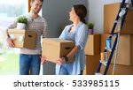 happy young couple unpacking or ...   Shutterstock . vector #533985115