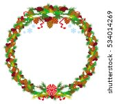 holiday round garland decorated ... | Shutterstock . vector #534014269