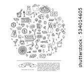 hand drawn doodle set of casino ... | Shutterstock .eps vector #534014605