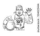 isolated astronaut cartoon... | Shutterstock .eps vector #534025444