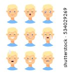 set of male emoji characters.... | Shutterstock .eps vector #534029269