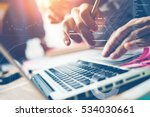 typing on laptop close up. man... | Shutterstock . vector #534030661