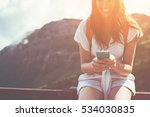 smiling woman sitting on the... | Shutterstock . vector #534030835