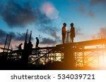 silhouette businessmen shake... | Shutterstock . vector #534039721