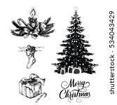 hand drawn christmas set | Shutterstock .eps vector #534043429