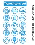 vector travel icons set in d... | Shutterstock .eps vector #534049801