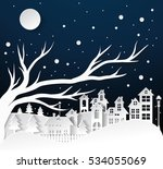paper art winter snow urban... | Shutterstock .eps vector #534055069
