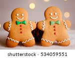 two gingerbread man with candy... | Shutterstock . vector #534059551