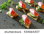 holiday appetizer  canapes on... | Shutterstock . vector #534064357