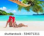 romantic couple in red... | Shutterstock . vector #534071311