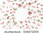 romantic flowers. frame made of ... | Shutterstock . vector #534072055