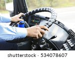 hands of driver on bus steering ... | Shutterstock . vector #534078607