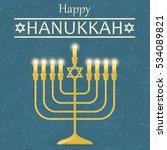 happy hanukkah vintage greeting ...   Shutterstock . vector #534089821