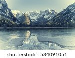 vintage landscape with lake and ... | Shutterstock . vector #534091051