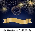 Blank Ribbon Label With Golden...