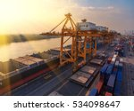 container ship in export and... | Shutterstock . vector #534098647