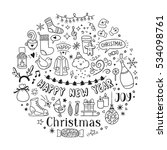 hand drawn christmas and new... | Shutterstock .eps vector #534098761