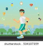 runner men running on the... | Shutterstock . vector #534107359