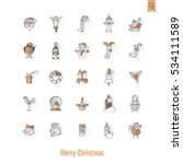 christmas and winter icons... | Shutterstock .eps vector #534111589