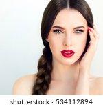 beautiful  brunette model girl...   Shutterstock . vector #534112894