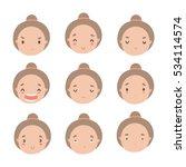 set of cute girl emotions.... | Shutterstock .eps vector #534114574