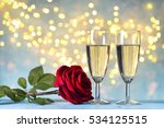 two champagne glasses and red... | Shutterstock . vector #534125515