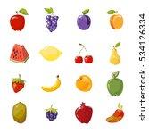 juicy fruits collection...   Shutterstock . vector #534126334