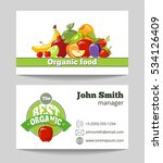 organic food shop business card ... | Shutterstock . vector #534126409