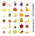 fruits and slices collection.... | Shutterstock . vector #534126445