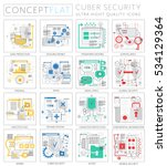 infographics mini concept cyber ... | Shutterstock .eps vector #534129364