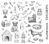 Stock vector  sketches on a white background dog products and accessories for dogs dog clothes toys food 534138391