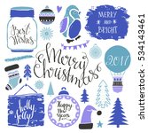 christmas and new year hand... | Shutterstock .eps vector #534143461