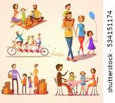 family retro cartoon set with... | Shutterstock . vector #534151174