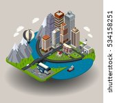 isometric city icon with... | Shutterstock . vector #534158251