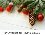 christmas tree branches with... | Shutterstock . vector #534163117