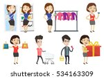 woman shocked by prices in... | Shutterstock .eps vector #534163309