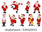 set of cute santa claus writing ... | Shutterstock .eps vector #534163411