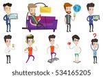 man holding tablet computer... | Shutterstock .eps vector #534165205