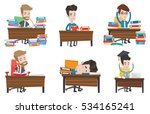 student sitting at the table... | Shutterstock .eps vector #534165241