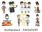 cheerful graduates in cloaks... | Shutterstock .eps vector #534165295