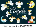 christmas holiday set of flying ... | Shutterstock .eps vector #534175279