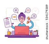 woman secretary or female... | Shutterstock .eps vector #534179389