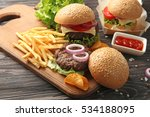 delicious burgers and snacks on ... | Shutterstock . vector #534188095