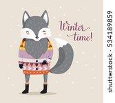 wolf in sweater. winter... | Shutterstock .eps vector #534189859