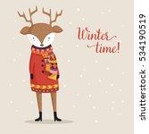 deer in sweater. winter... | Shutterstock .eps vector #534190519