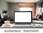 workspace with blank screen... | Shutterstock . vector #534193045