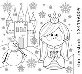 princess in the snow with a... | Shutterstock .eps vector #534196009