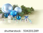 christmas decorations on mirror ... | Shutterstock . vector #534201289