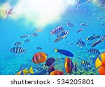 coral fish school in bright sea ... | Shutterstock . vector #534205801