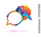 dialog icon. vector splash paint | Shutterstock .eps vector #534207865